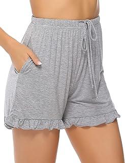 9b7bf56cc0fb1 Hawiton Femme été Shorts et Bermudas Pantalon Fluide Casual Ample Elastique  d'intérieur Jogging Détente