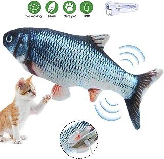 Hierba gatera Juguetes de Pescado, Almohada interactiva para gatos, Dancing Fish, Juguetes Simulación Peluches Pescado con Recargable USB, Catnip Fish Toys para Gatito Morder, Masticar y Patear