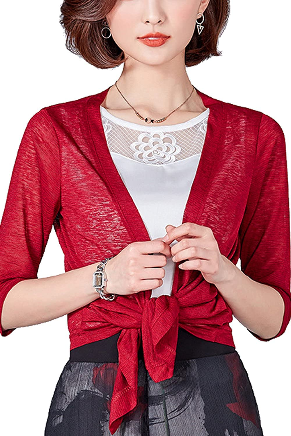 Women Short Sleeve Tie Front Daily Cropped Poncho Shrug Cardigan