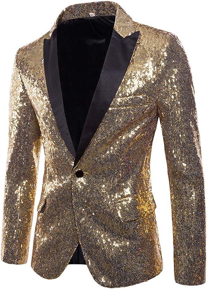 FANTASIEN Mens Tails Slim Fit Tailcoat Sequin Dress Coat Swallowtail Dinner Party Wedding Blazer Suit Jacket