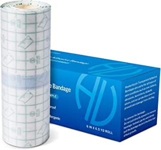 Tattoo Aftercare Bandage   6 in x 6.5 yd Roll  – Waterproof Tape for Skin Protection – Second Skin Bandage for Wound H...