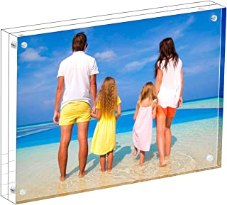 Meetu Acrylic Picture Frame 4x6,Clear Freestanding Double Sided 20mm Thickness Frameless Magnetic Photo Frames Desktop Display with Gift Box Package