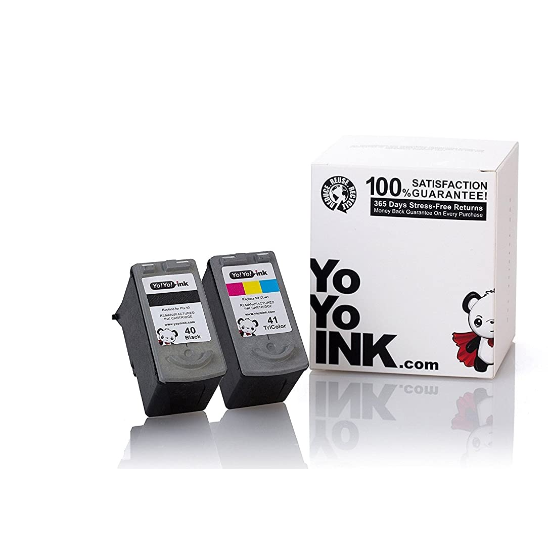 YoYoInk Remanufactured Ink Cartridges Replacement for PG 40 & CL 41 (1 Black, 1 Color)