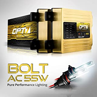 OPT7 Bolt AC 55w 9006 HID Kit - 5x Brighter - 6x Longer Life - All Bulb Sizes and Colors - 2 Yr Warranty [5000K Bright White Xenon Light]