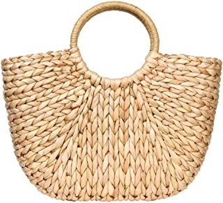 Summer Rattan Bag for Women Straw Hand-woven Top-handle Handbag Beach Sea Straw Rattan Tote Clutch Bags (Khaki)