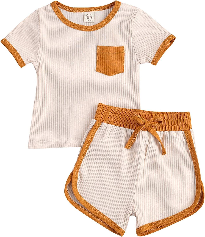 Toddler Baby Boy Girl Summer Clothes Ribbed Short Sleeve T-Shirts Tees Tops+Drawstring Shorts Pants Outfits 2PCS Shorts Set