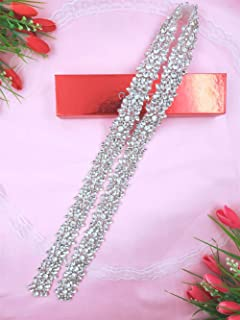 Bridal Rhinestone Belt for Wedding Dress Bridesmaid Gown Women Formal Dress Ribbon Sash with Silver Crystal Beaded Applique