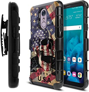 WIRESTER Case Compatible with LG Stylo 4, Dual Layer Hybrid Armor Heavy Duty Protector Case Cover Stand TPU Holster for LG Stylo 4 - USA American Flag Skull