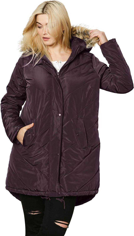 ellos Women's Plus Size Faux Fur Hooded Parka Coat
