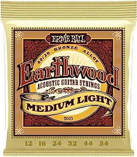 Ernie Ball P02003 Earthwood Medium Light 80/20 Bronze Acoustic Set.012- .054, White Black Red Blue