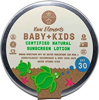 Raw Elements Baby + Kids SPF 30 Organic Sunscreen Lotion Non-Nano Zinc Oxide, Reef-Safe, Cruelty-Free, Gentle and Moisturi...