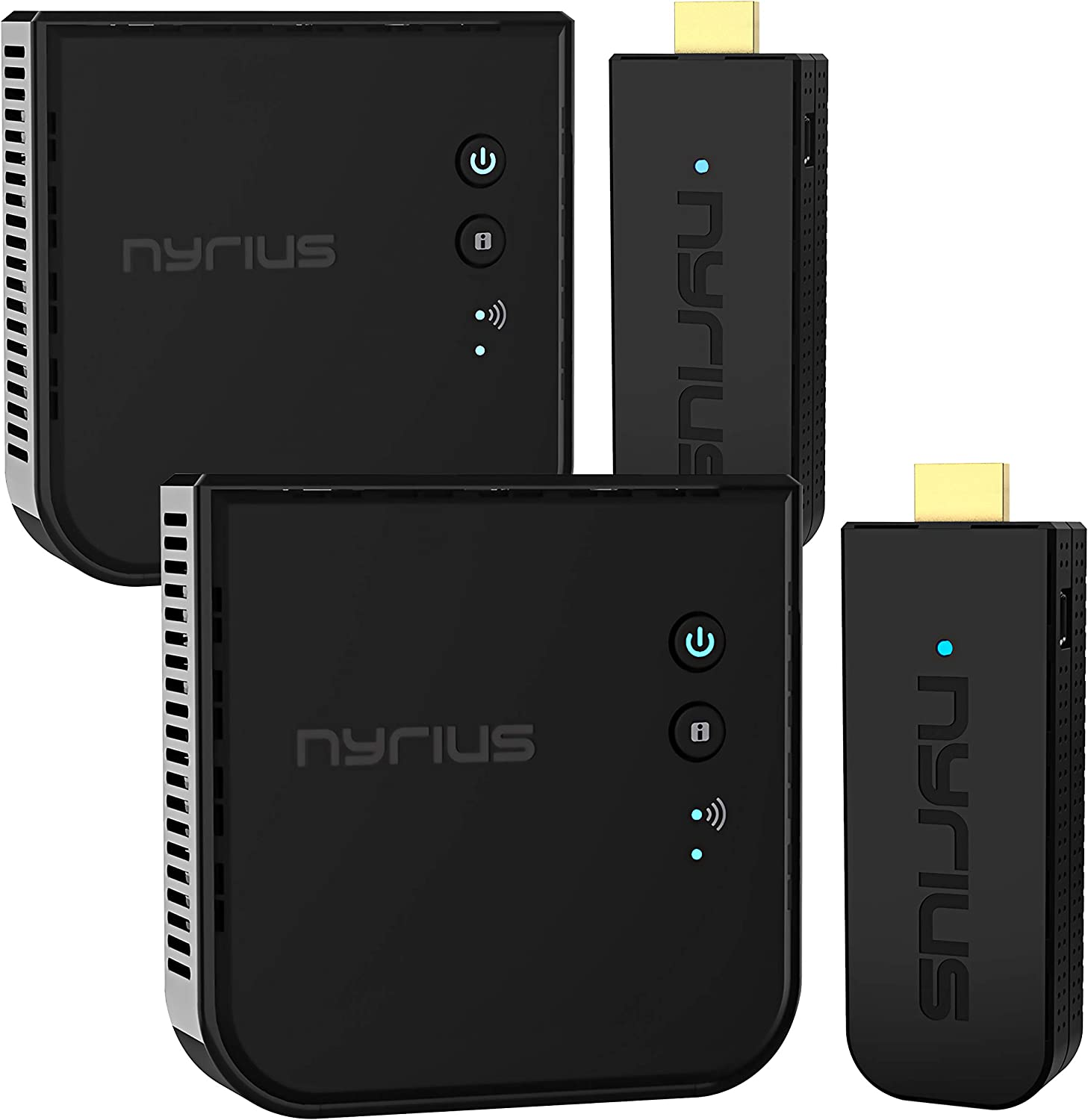 Nyrius Aries Pro+ Wireless HDMI Video Transmitter & Receiver to Stream 1080p Video up to 165ft from Laptop, PC, Cable Box, Game Console, DSLR Camera to a TV, Projector - 2 Pack