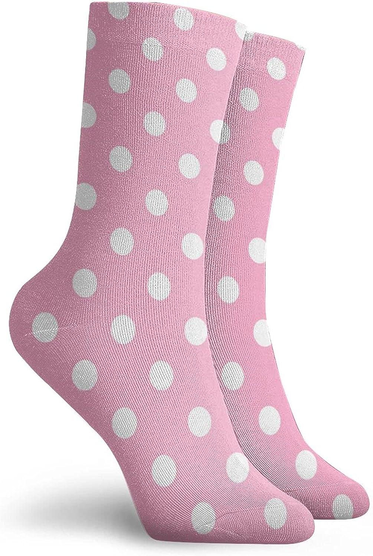 Womens Socks White Polka Dot Pink Casual Summer Low Cut Crew Dress Sock