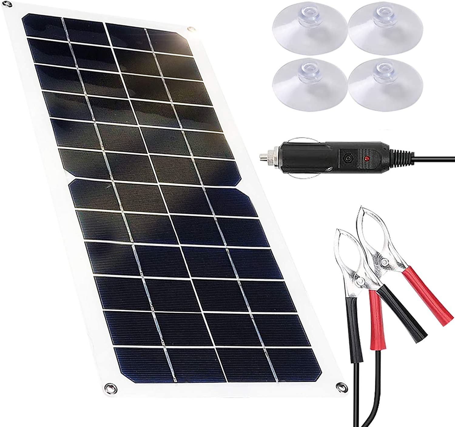 20W Flexible Solar Battery Charger 12 Volt Solar Panel Kit Waterproof Portable Monocrystalline Emergency Charging for Car Homes RV Boat Phone Camping Travel