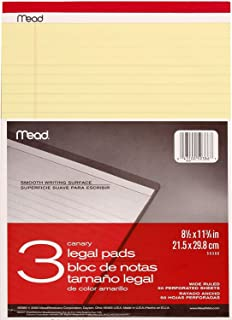 $64 » Mead Canary Legal Pads, 8.5 X 11.75 Inches, 6 Pack, 50 Sheets (59386)