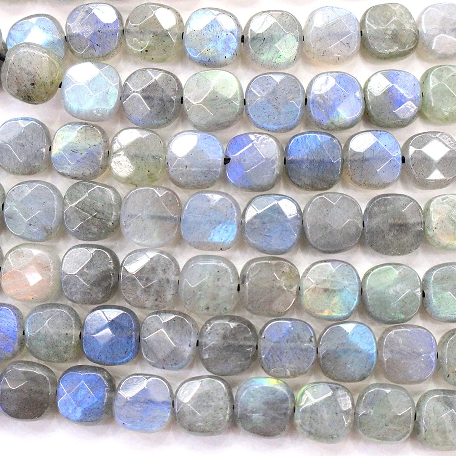 Faceted Natural color labradorite square Gemstone Loose Beads for DIY Jewelry Making (8mm)
