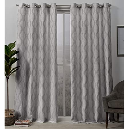Amazon Com Exclusive Home Curtains Stark Medallion Textured Blackout Grommet Top Curtain Panel Pair 54x84 Dove Grey Home Kitchen