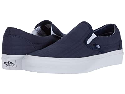 Vans Classic Slip-Ontm ((Tonal Plaid) Dress Blues/True White) Skate Shoes
