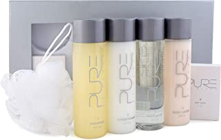 Pure by Gloss Gift Set – 6-Piece Luxury Collection w/ Shampoo [8.7oz], Conditioner [8.7oz], Body Wash [8.7oz], Body Lotion [8.7oz], Body Bar [4.0oz] & Loofah – Fresh Lemon Scent