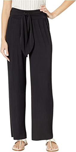 Lightly Pleated Pants with Sash