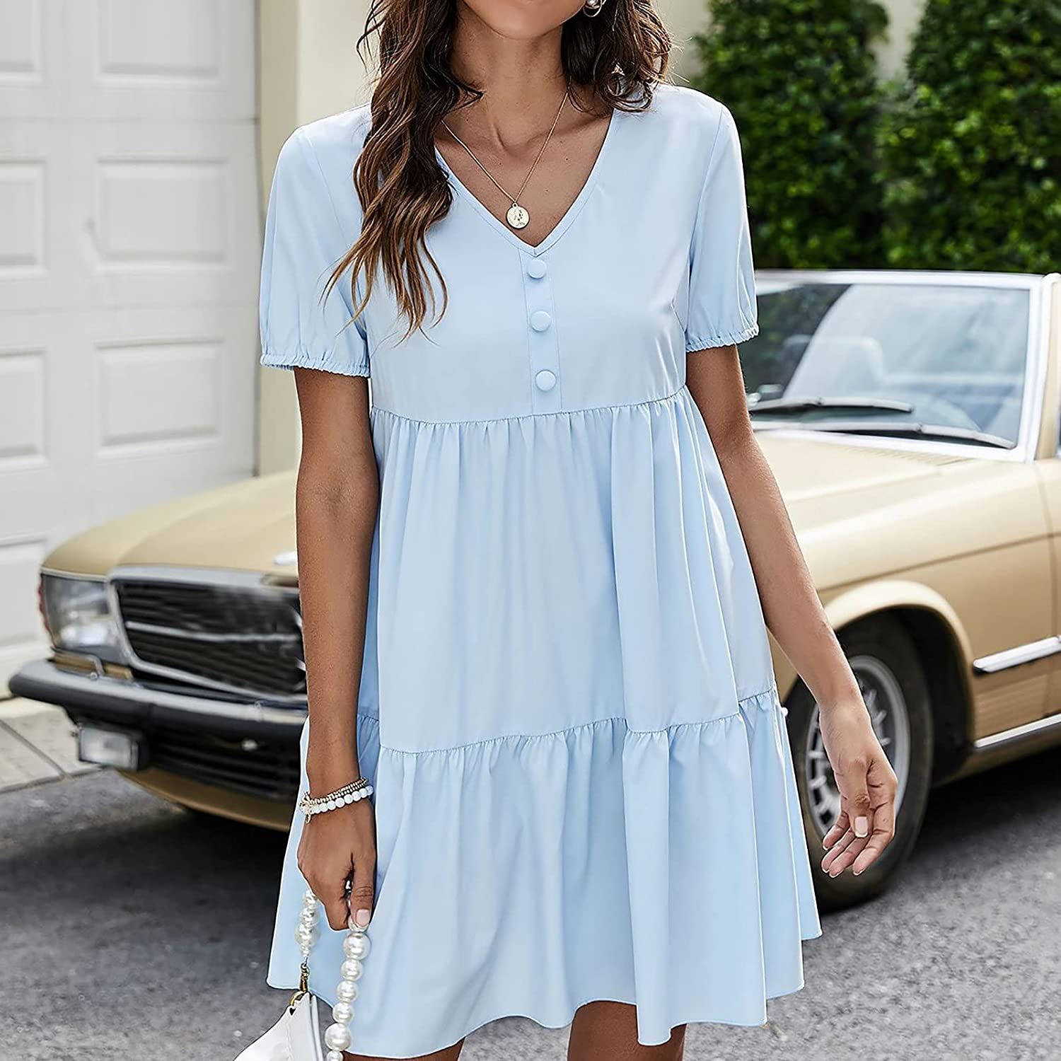Tynelles Women's Sexy V Neck Dresses Summer Casual Short Sleeve Solid Dress Flowy Ruffles Pleated Flare Dress