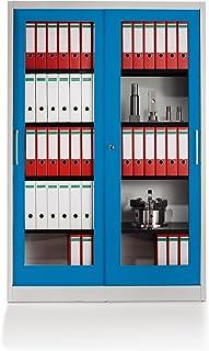 Mauser Armoire à portes coulissantes - façade vitrée, 4 tablettes - h x l x p 1950 x 1200 x 420 mm, gris clair / bleu clai...