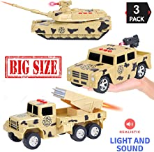 Liberty Imports 3-in-1 True Hero Big Army Vehicles Kids Toy Cars PlaySet - 3-Button LED Light and Sound Effects (Military Vehicles)