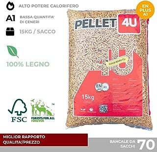 Pellet 4U oscuro 100% madera - Pellet estufa calidad DIN/EN PLUS A1 - Alto poder calorífico