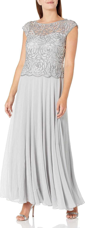 J Kara Women's Beaded Cowl Neck Flutter Sleeve Long Dress