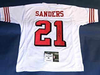DEION SANDERS AUTOGRAPHED SAN FRANCISCO 49ERS THROWBACK 75TH JERSEY AASH