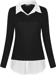 Women's V-Neck Collar 2 in 1 Office Tunic Sweater