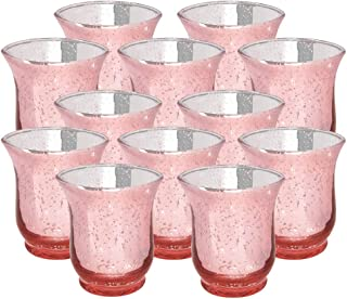 Just Artifacts Mercury Glass Hurricane Votive Candle Holder 3.5-Inch (12pcs, Speckled Blush) - Mercury Glass Votive Tealight Candle Holders for Weddings, Parties and Home Décor