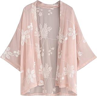 SweatyRocks Women's Floral Lace Crochet Kimono Cardigan Beach Wear Cover up