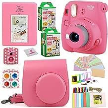 Fujifilm Instax Mini 9 Instant Printing Camera Bundle  Complete w/Case+ Instant Mini 9 Fuji Film (40-Pack) + Case + Colorful Picture Frames+ Stickers+ Selfie Mirror + Photo Album + Colored Lens & more