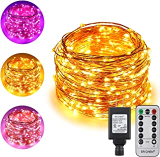 ErChen Dual-Color LED String Lights, 100 FT 300 LEDs Plug in Copper Wire 8 Modes Dimmable Fairy Lights with Remote Timer for Indoor Outdoor Patio Party (Purple/Warm White)