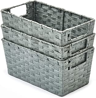 EZOWare Pack of 3 Woven Paper Rope Storage Baskets, Multipurpose Organiser Bins with Handles Perfect for Storing Small Hou...