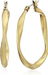 Twist Hoop Earrings, Gold, One Size