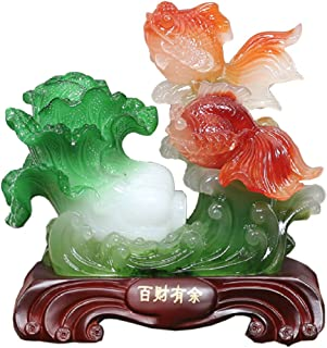 DEAI Elegant Vintage Resin Jade Cabbage Goldfish Carving Fine Crafts Ornaments Office Home Decorations Opening Gift Figurine Sculpture Art,A:19x11x22cm
