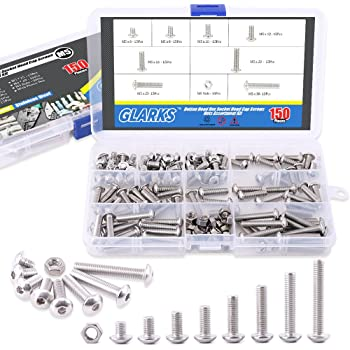 Yosawa M5 310-Pcs 304 Stainless Steel Hex Socket Head Cap Screws Nuts Flat Washers Assortment Set Kit with Storage Box