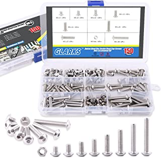 Glarks 150Pcs M5 Stainless Steel Button Head Hex Socket Head Cap Bolts Screws Nuts Assortment Kit
