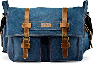 "GEARONIC 14""-17"" Men's Messenger Bag Laptop Satchel Vintage Shoulder Military Crossbody (17 inch, Blue)"