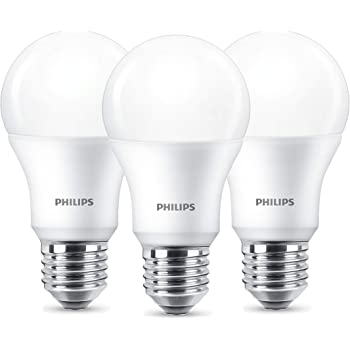 Philips LED Lampe, Standardform, ersetzt 9W, E27, Warmweiß (2700 Kelvin), 806 Lumen, 3er Pack