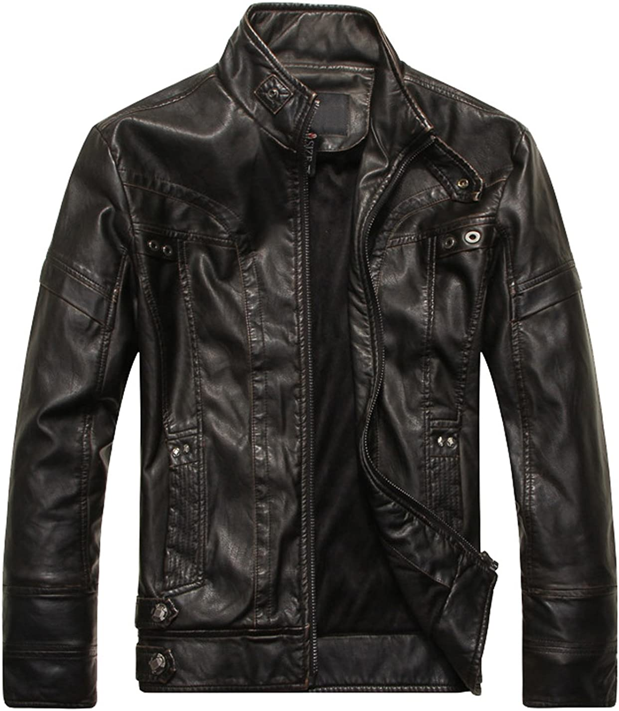 VSVO Men's Stand New life Collar Faux Leather Popular products Jacket
