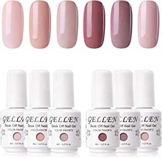 Gellen Gel Nail Polish Kit - 6 Colors Classic Nudes Series Natural Skin Tone, Trendy Pigmented Daily Nail Gel Shades Nail ...