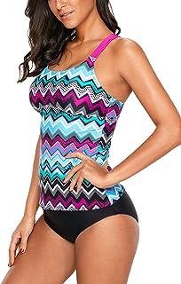 4d68c8bc47 GOLDPKF Womens Swimsuits Bandeau Tankini Striped Printed Racerback Top No  Bottom