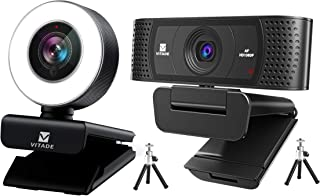 Bundle: Vitade 960A Webcam 1080P with Microphone & Ring Light (Tripod Included), Vitade 928A Webcam 1080P with Microphone ...