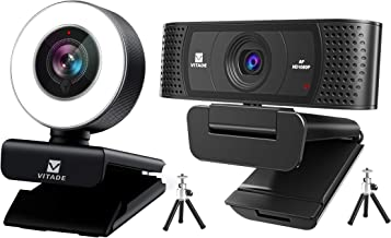 Bundle: Vitade 960A Webcam 1080P with Microphone & Ring Light (Tripod Included), Vitade 928A Webcam 1080P with Microphone...