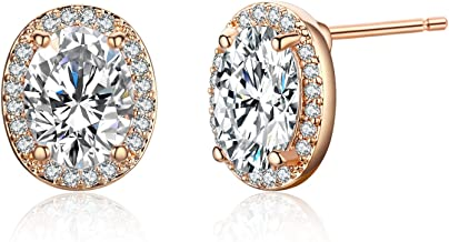 SBLING 18K Rose Gold Plated or Platinum-Plated AAAA Cubic Zirconia Oval Halo Stud Earrings (1.90 cttw)