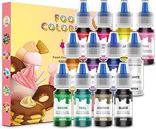 Nomeca 12 Colors Food Coloring Set - Vibrant Liquid Food Colors Frosting Dye Tasteless for Baking, Cake Decorating, Cookin...