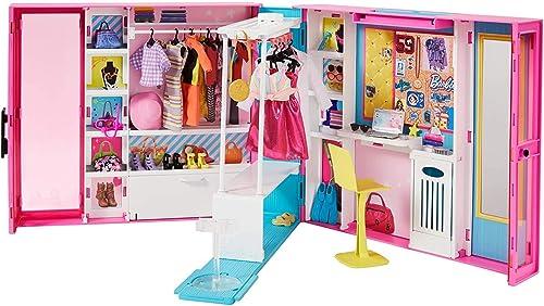 Barbie Fashionistas Le Dressing Deluxe pour poupée, transportable, avec 4 tenues et plus de 25 accessoires, emballage...